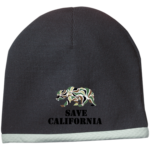 Save CA Camo Bear Beanie