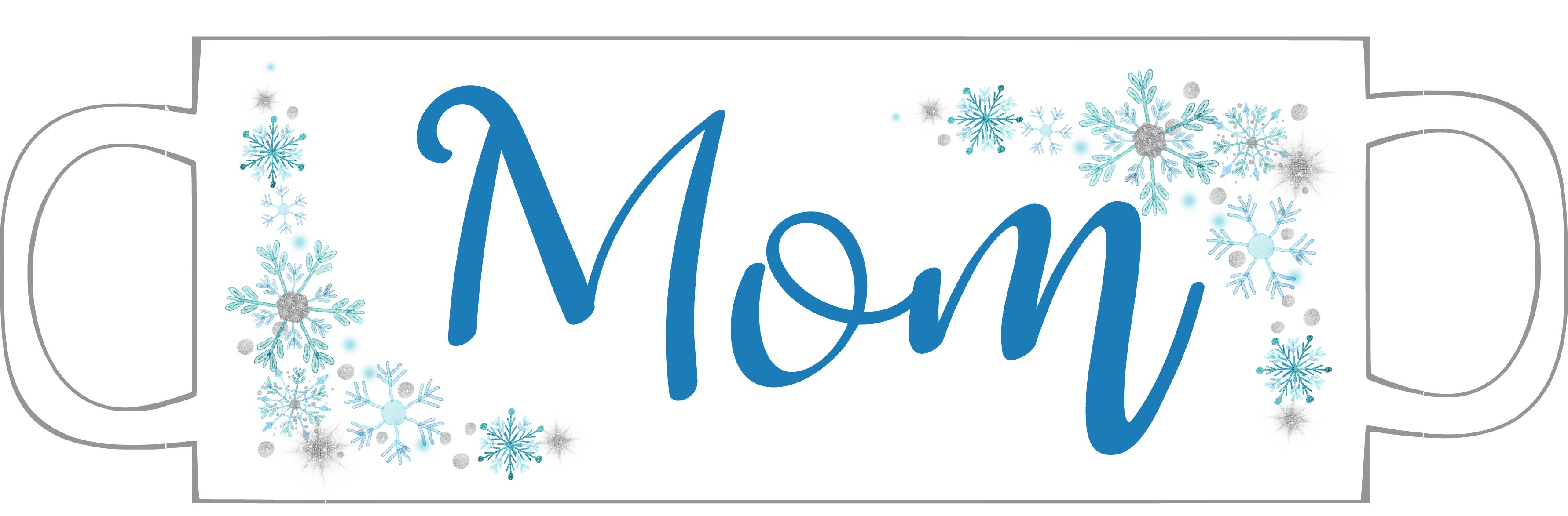 Custom name blue snowflake mug