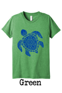 Sea turtle mandala tee for kids - triblend