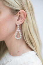 Load image into Gallery viewer, Gaia Oval Drop Earrings White Gold