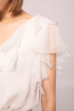 Load image into Gallery viewer, White Ruffled Silk Top