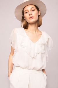 White Ruffled Silk Top
