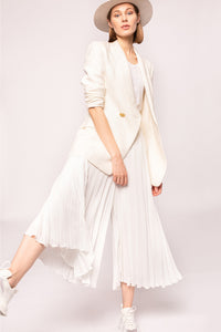 White  Pleated Culottes Pants