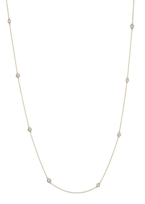 CZ Stationed Long Necklace