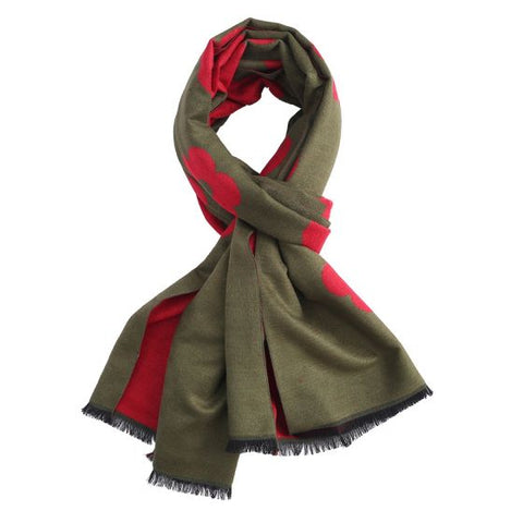 Pretty reversible soft olive and red flower large scarf