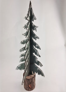 Large Wooden Snow Covered Pine Tree Decoration