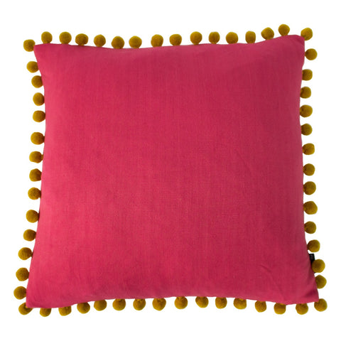 Coral and Bamboo yellow linen look Cushion
