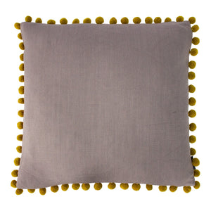 Dove grey and Bamboo yellow linen look Cushion