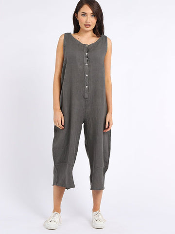 Made In Italy Linen Sleeveless Buttoned Wide Leg Jumpsuit Charcoal