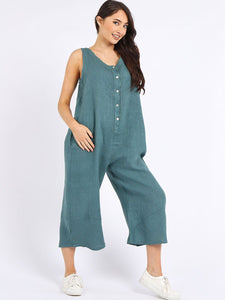 Made In Italy Linen Sleeveless Buttoned Wide Leg Jumpsuit Seagreen
