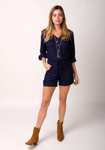 Navy Blue Long sleeved short legged playsuit