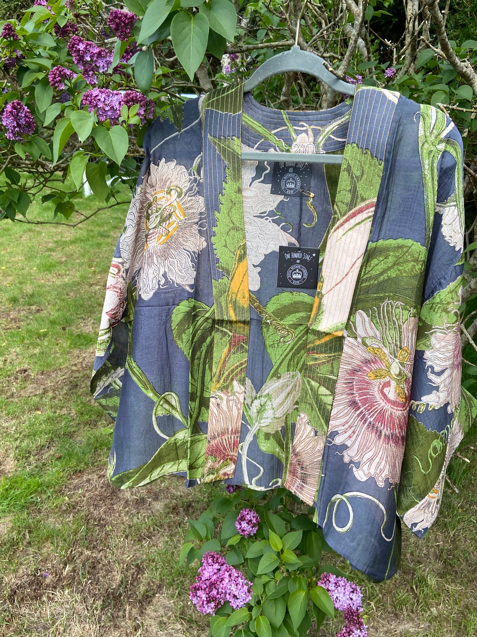 One Hundred Stars Kew Limited Edition Passionflower grey mini Kimono
