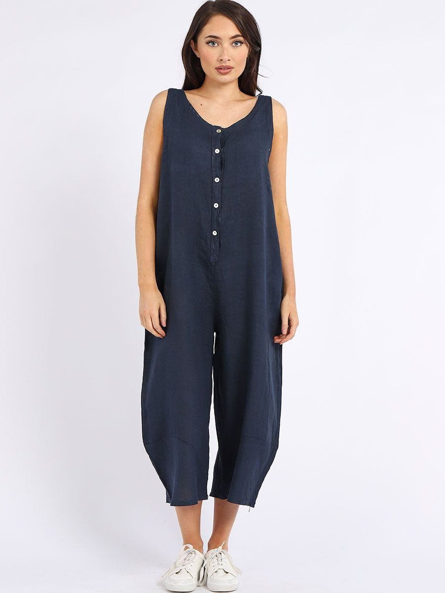 Made In Italy Linen Sleeveless Buttoned Wide Leg Jumpsuit Navy