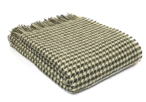 Tweedmill Charcoal Houndstooth Wool Blanket Throw