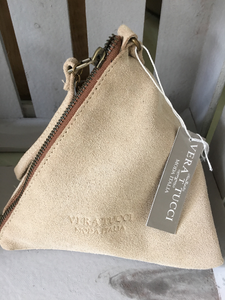 NEW Italian pretty pale beige suede pyramid bag