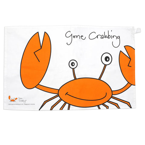 Gone Crabbing Seaside Crab tea towel