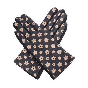 Ladies Black Mary quant flower Gloves