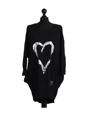 Italian Foil Heart Print Dipped Hem Cotton Tunic Top one size black