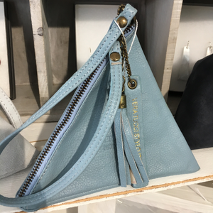 NEW Italian pretty pale blue leather pyramid bag