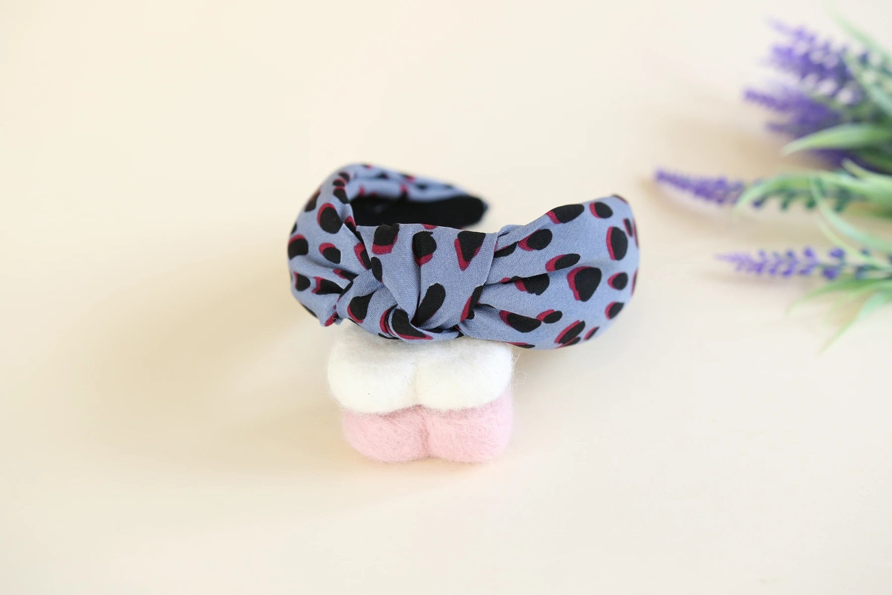 Blue leopard patterned headband