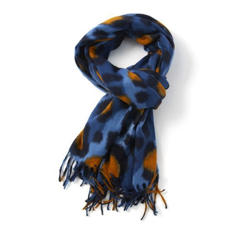 Soft blue and orange leopard print scarf