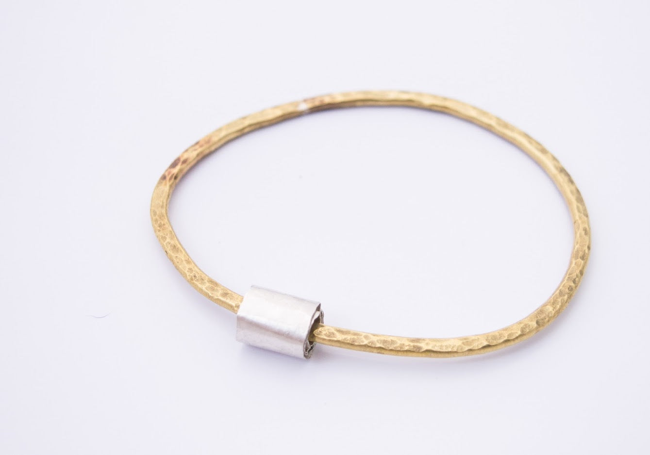 Handmade in Cornwall  recycled brass bangle with curl