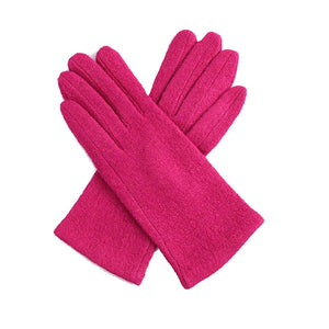 Bright pink Ladies soft textured Gloves