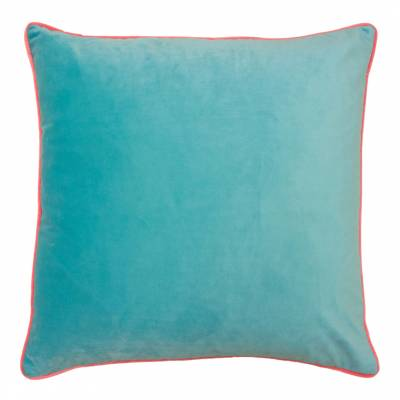 Beautiful Large Velvet Cushion - bright turquoise wih pink piping