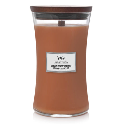 New Woodwick Caramel Toasted Sesame Tall cylinder Candle