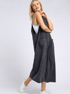Italian Pleated Front Cord Dungarees Charcoal