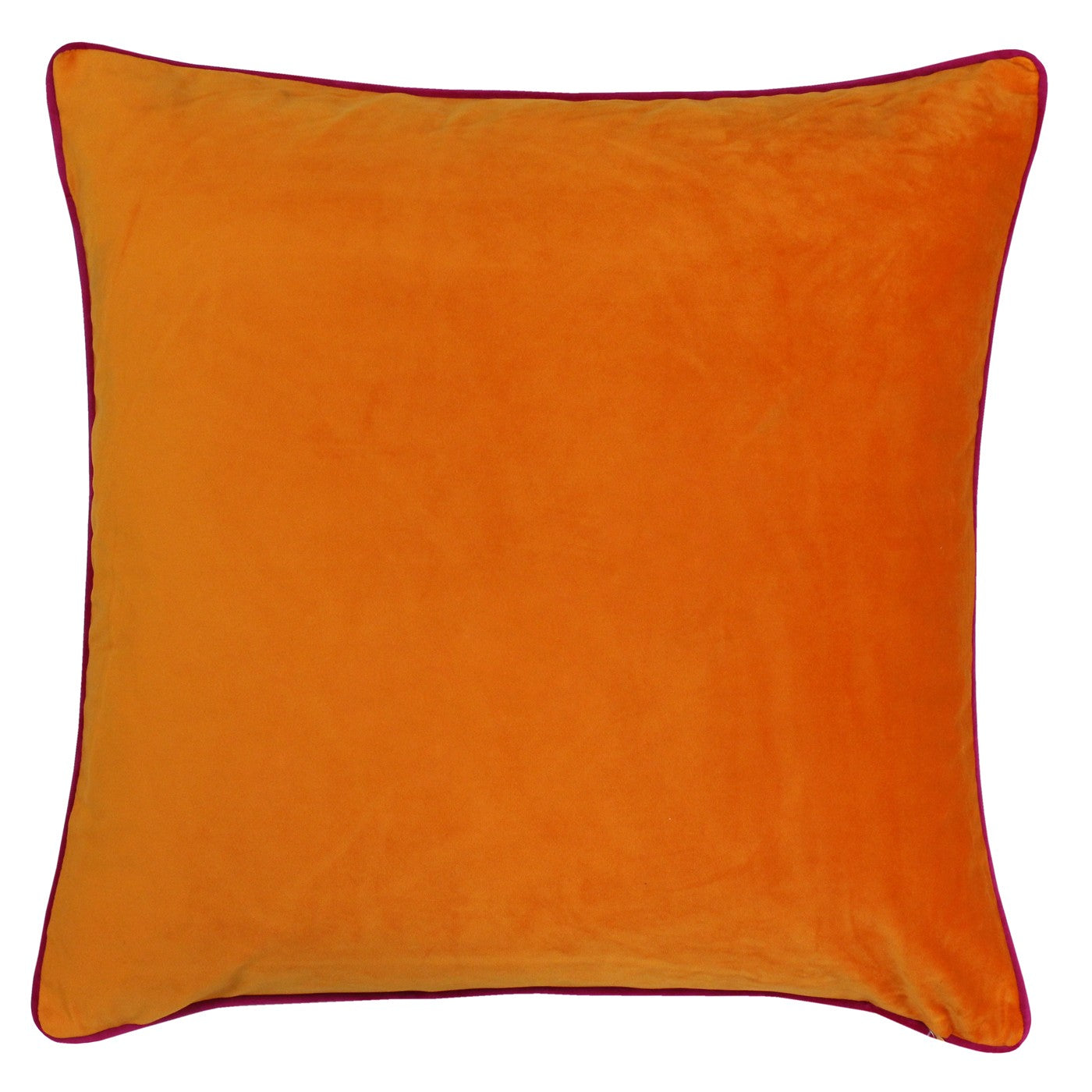 Large bright orange velvet cushion