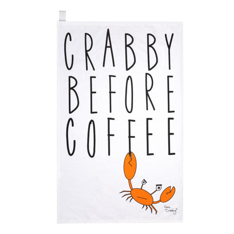 Gone Crabbing Seaside Crabby before Coffee Tea towel