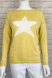 New Yellow Cotton Italian one size jumper