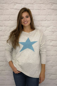 Italian One Size Silver cashmere blend jumper with blue star