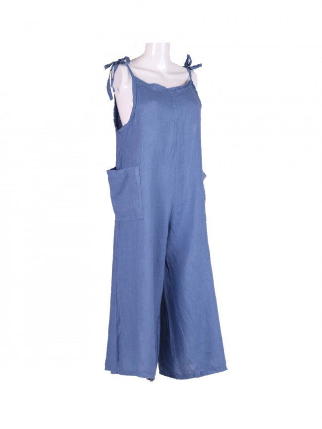 Italian One size linen dungarees tie top in pretty denim blue