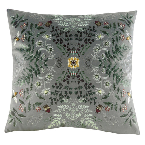 Silver grey pretty insect floral cushion