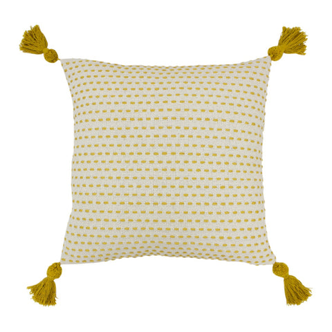 Pretty Ochre dash pattern and pom tassles Cushion