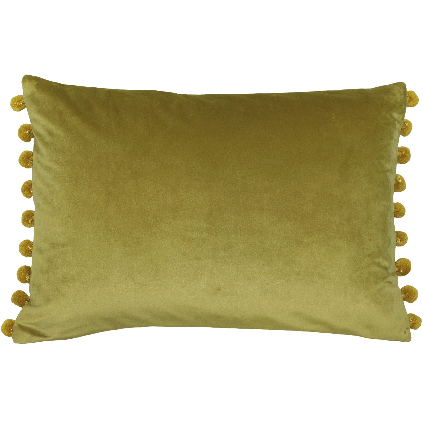 Bamboo Velvet Rectangle Cushion with Gold coloured Pom Poms