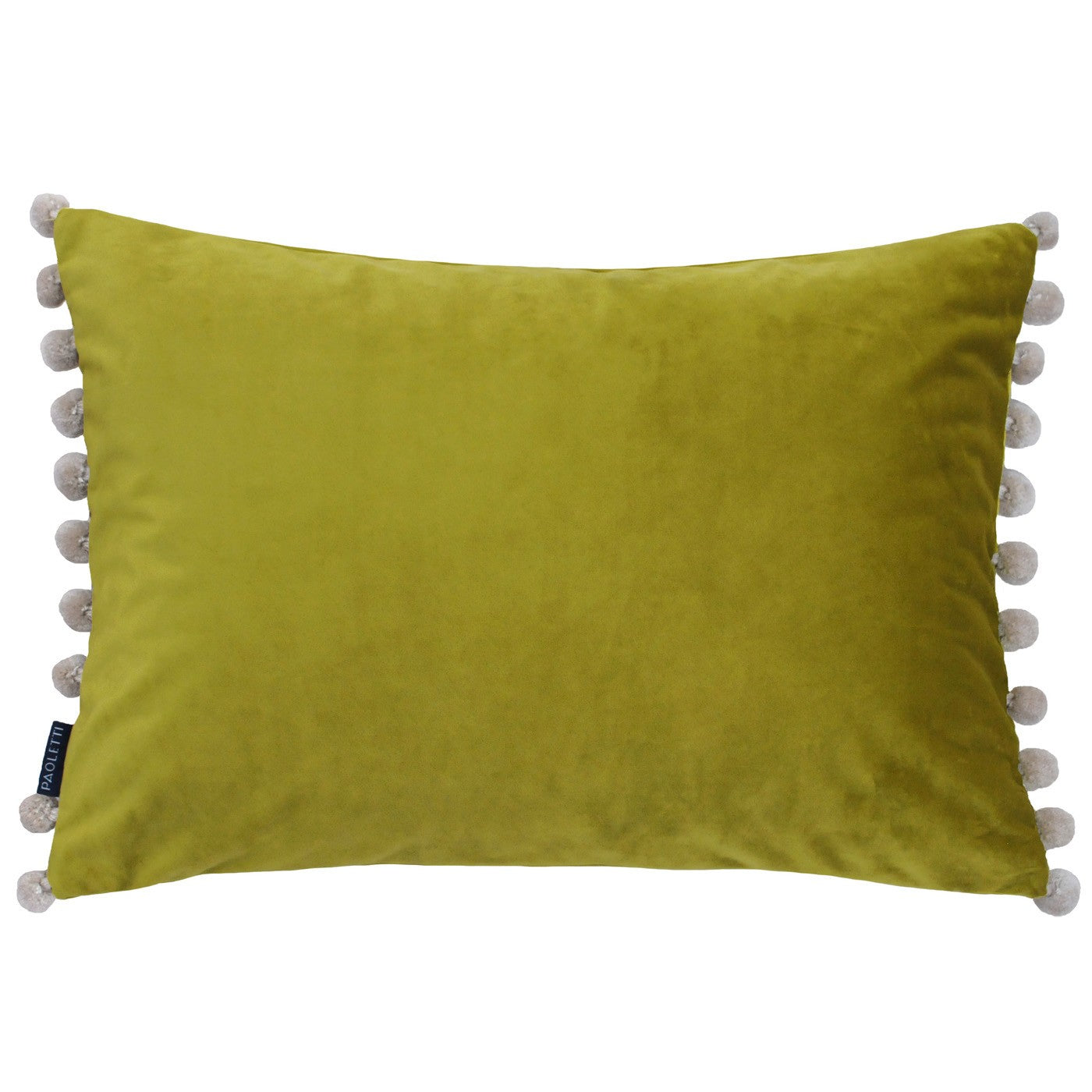 Bamboo Velvet Rectangle Cushion with Beige Pom Poms