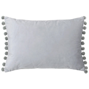 New Silver Rectangle Cushion with Silver grey coloured Pom Poms