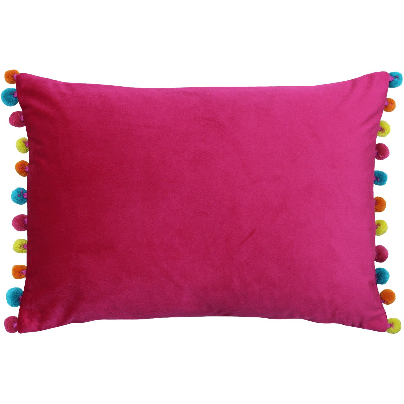 Hot Pink Velvet Rectangle Cushion with multi coloured Pom Poms