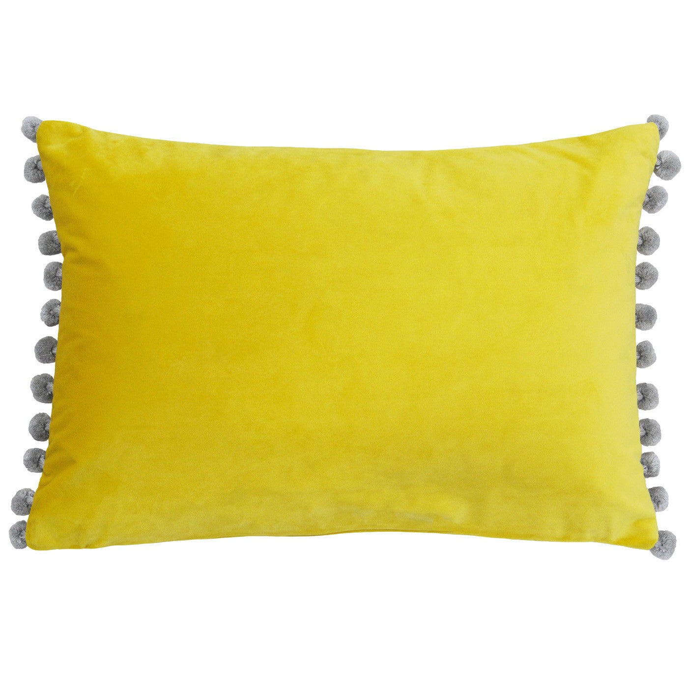Bright Yellow Velvet Rectangle Cushion with silver grey coloured Pom Poms