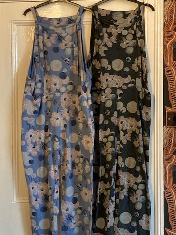Pretty denim jersey floral dungarees one size