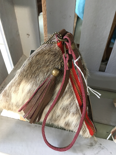 NEW Italian pretty random fur pyramid bag