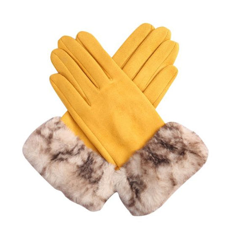 Yellow with fake fur cuff Ladies soft Gloves