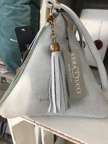 NEW Italian pretty pale grey suede pyramid bag