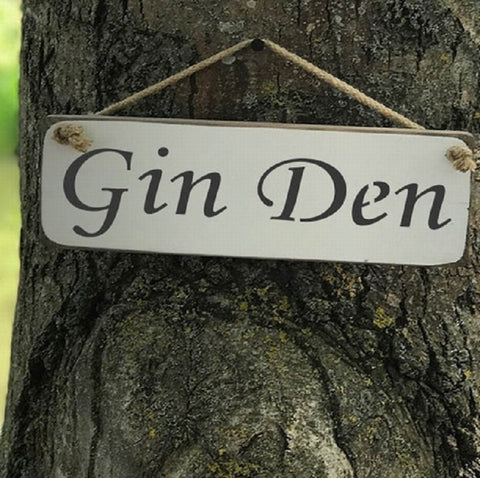 Handmade British wood Gin Den white sign