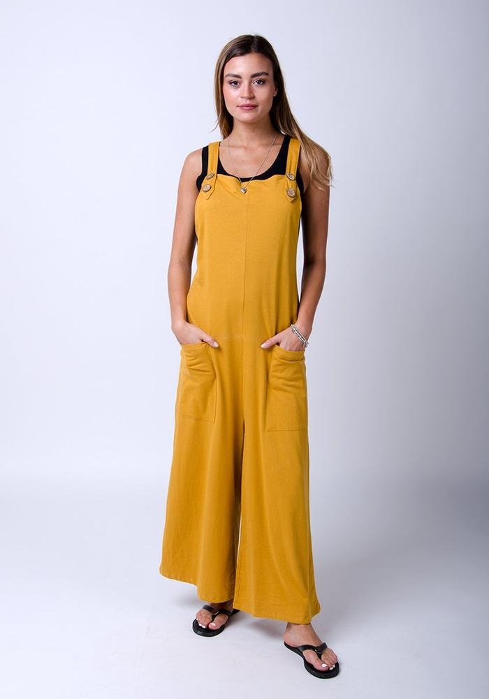New in one size Jersey gold dungarees