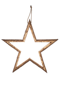 Large gold wooden handmade hanging star - 60 cms