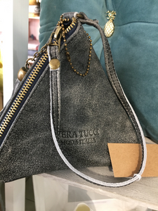 NEW Italian pretty vintage grey leather pyramid bag